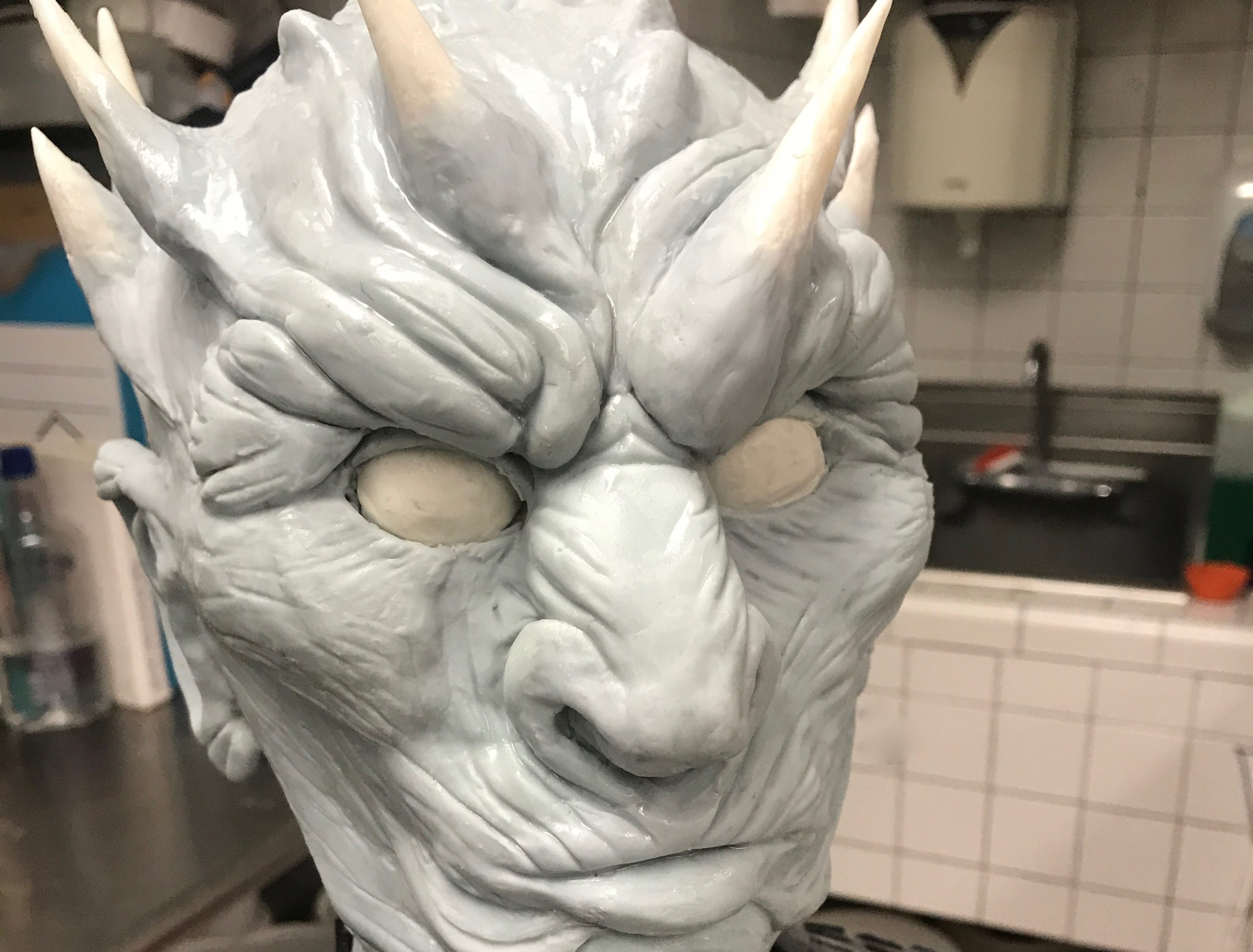 The Night King in the process of being created in the decorating studio at the Home Bakery.