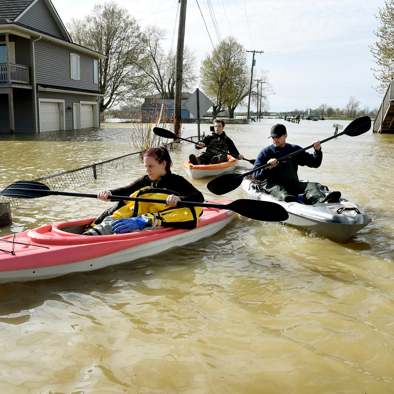 Wind-driven water causes flooding along western Lake Erie