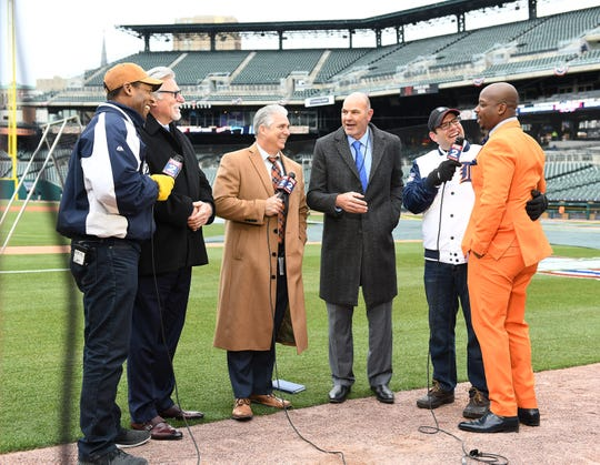 From second left, Jack Morris, Matt Shepard and Kirk Gibson, along with Craig Monroe (far right) are among the Tigers broadcasters this season.