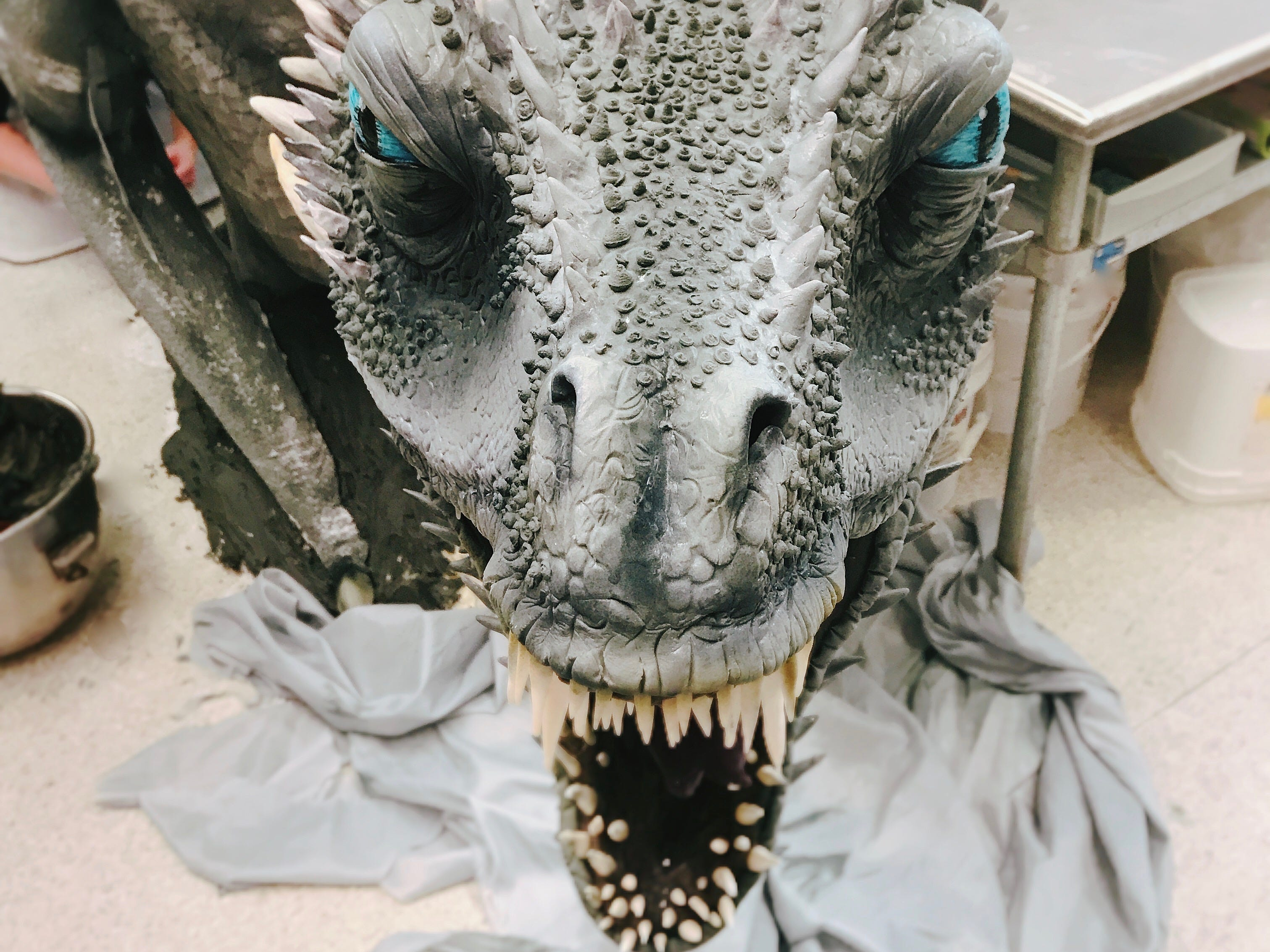 A close-up of the dragon Viserion's head in progress.