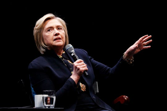 Former Secretary of State Hillary Clinton speaks at an annual Great Issues Lecture sponsored by the John Sloan Dickey Center for International Understanding at Dartmouth College in Hanover, N.H., on Wednesday, May 8, 2019.