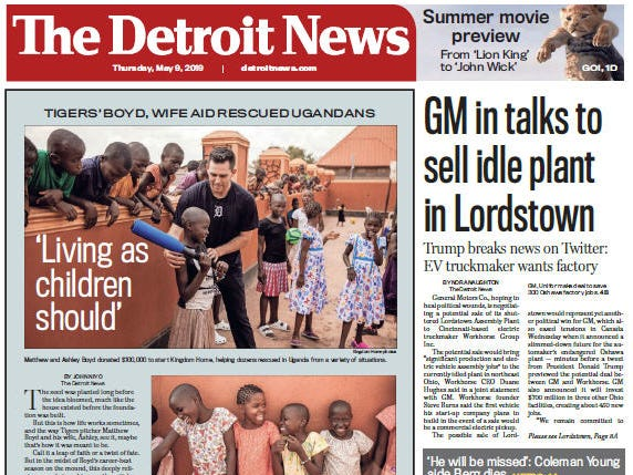 Front page of The Detroit News on Thursday, May 9, 2019.