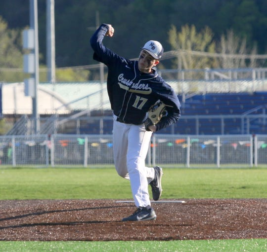 Hunter Homerda pitched a six-hitter for Elmira Notre Dame in a 5-2 win over Watkins Glen/Odessa-Montour on May 8, 2019 at Watkins Glen High School.