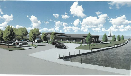 A rendering of the proposed pavilion from the perspective of someone on the Promen Drive bridge.