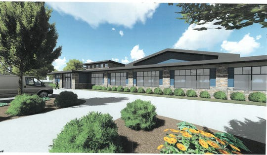 A rendering of the front of the proposed pavilion.