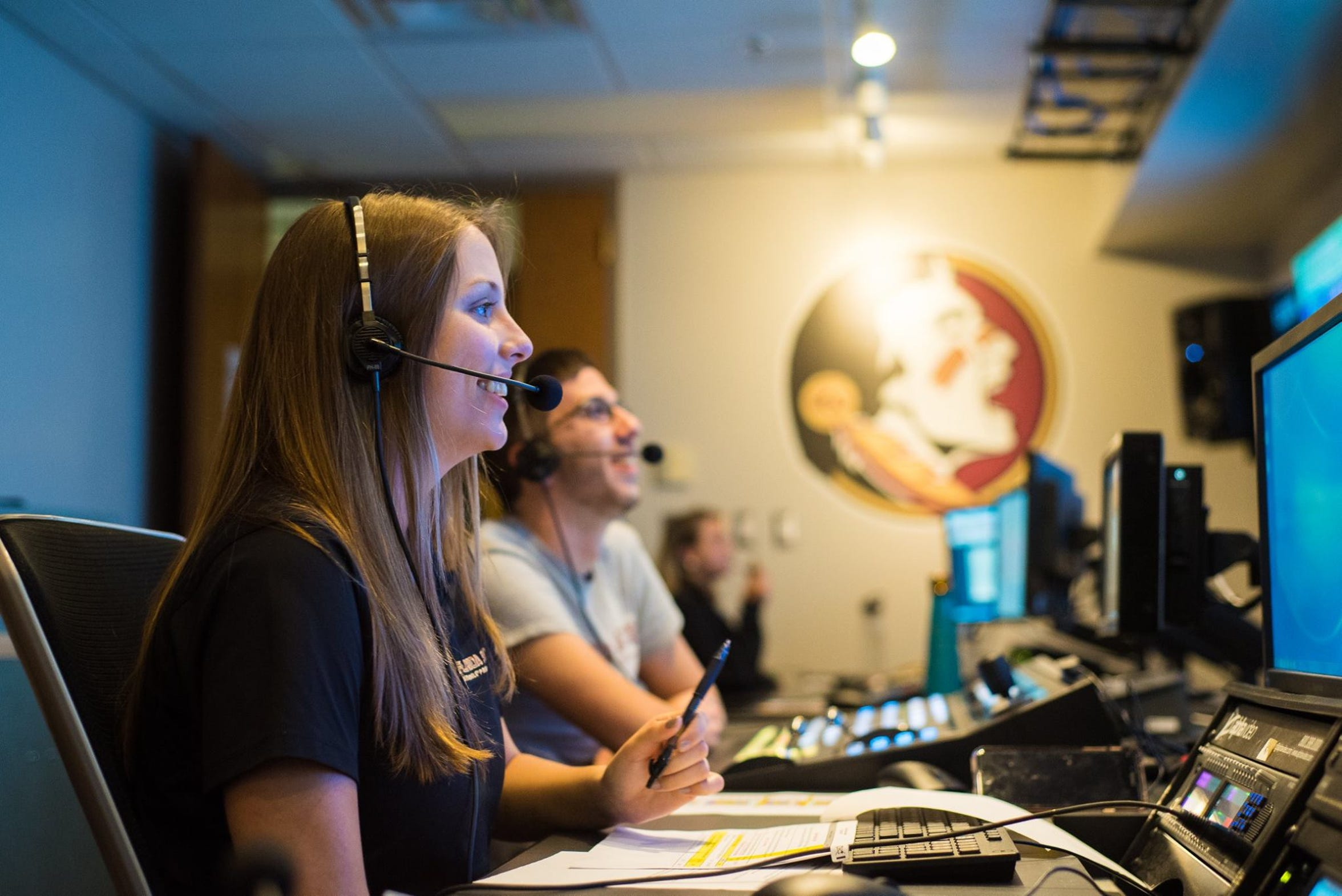 The crew of Seminole Productions, comprised of current and former students, conduct broadcasts out of the Moore Athletic Center at Doak Campbell Stadium.