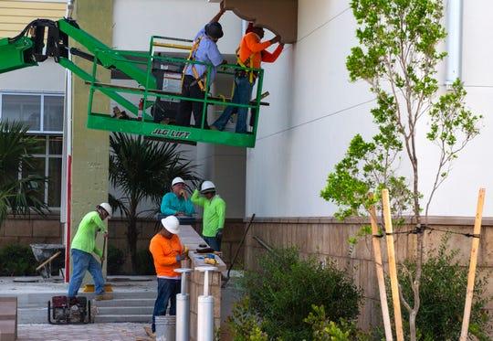 Construction work continues at the new Bonita Springs library on Thursday, May 9, 2019, in Bonita Springs