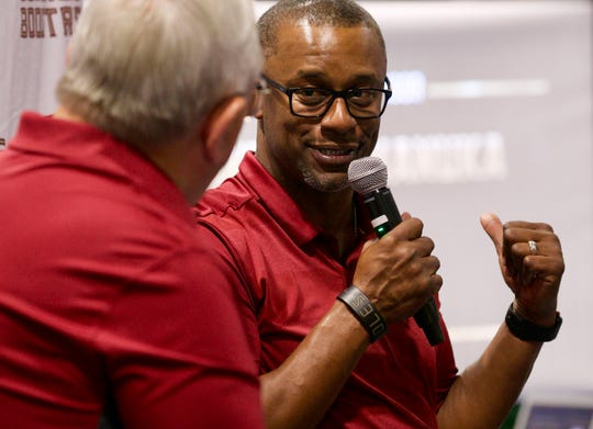 Florida State football coach Willie Taggart chats with Gene Deckerhoff in front of the audience at the 2019 Seminole Boosters Spring Tour event on Thursday, May 9, 2019, at IMAG in Fort Myers.