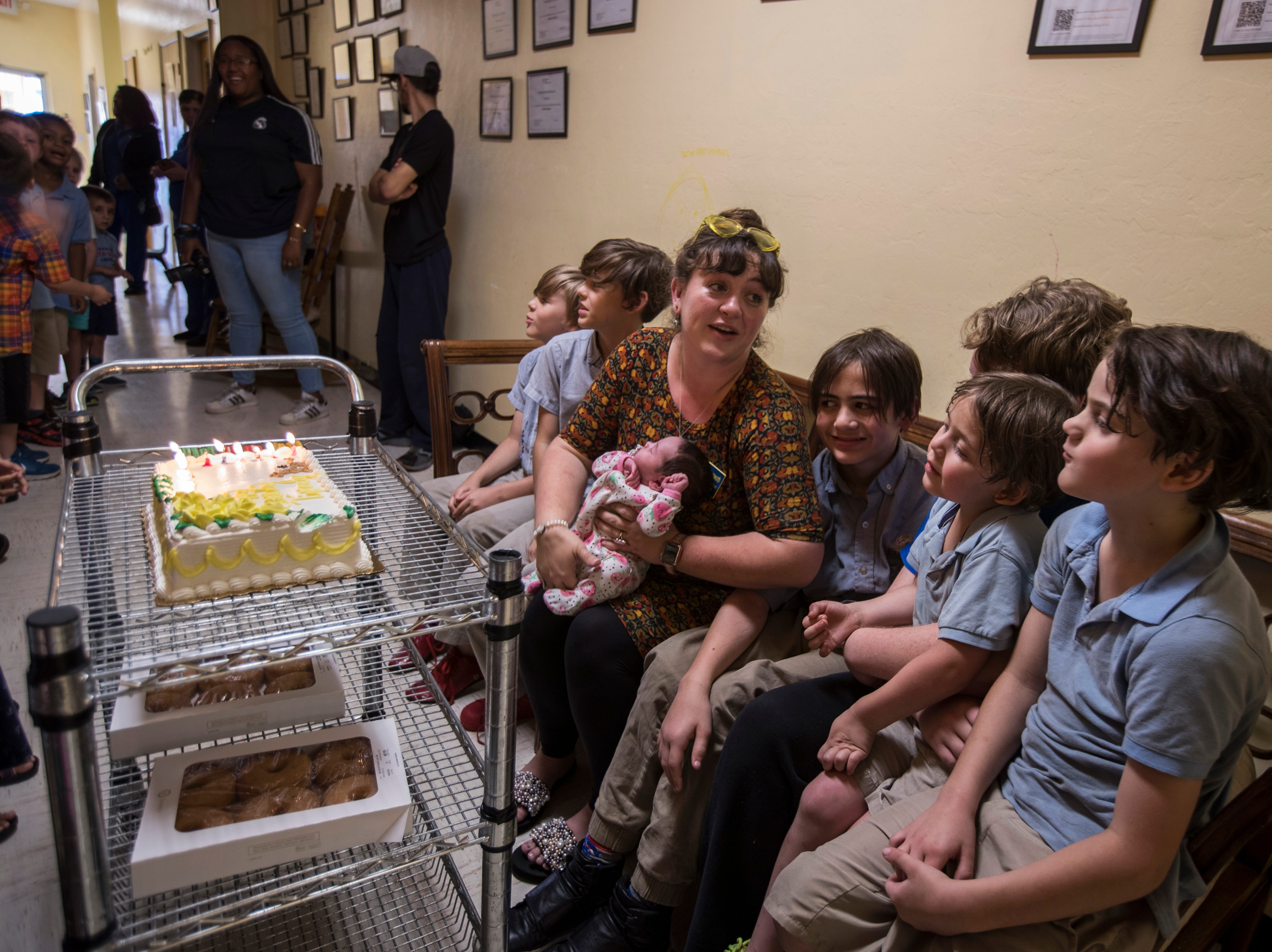 Tiffany Bannworth celebrates her birthday alongside her seven children Tuesday, May 7, 2019 at Nicaea Academy of Cape Coral.