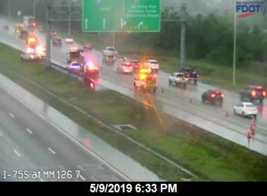 A crash blocked northbound traffic on I-75 Thursday evening.