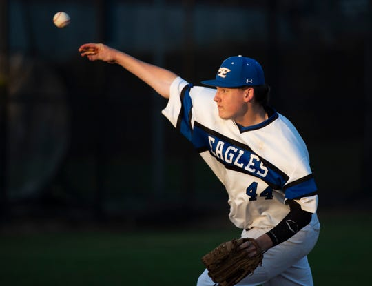 Eastside's Brody Fowler (44) pitches against Belton-Honea Path High School in the second game of the evening at Eastside High School Wednesday, May 8, 2019.