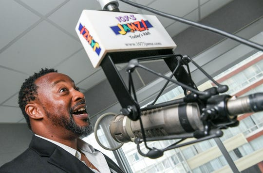 Tone Hollywood (Tony Wheeler) of 107.3 FM JAMZ speaks between songs played at the station in downtown Greenville in May 2019.