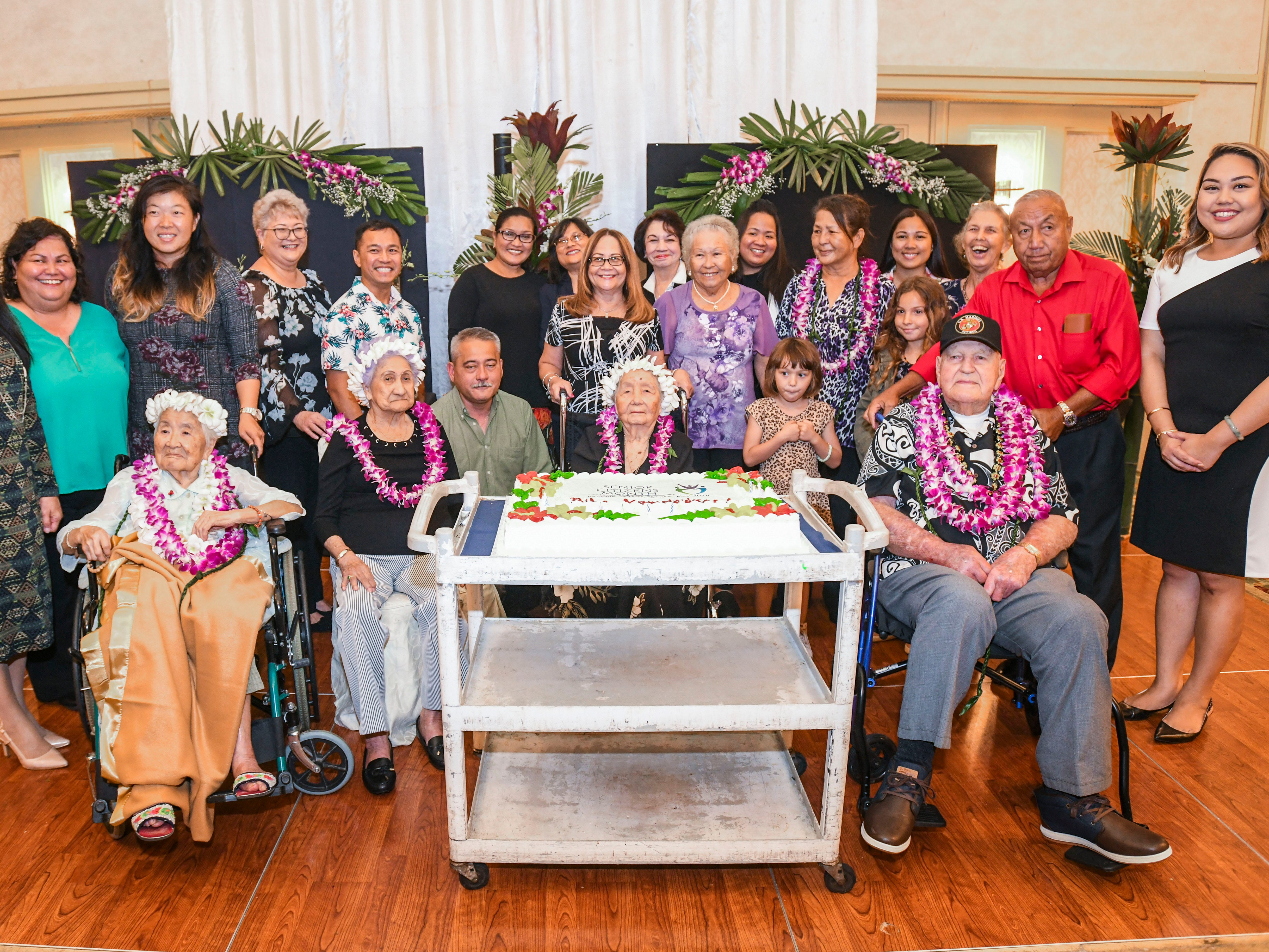 Members of the island's centenarian population are celebrated by family, friends and other supporters, during a gathering hosted by the Department of Public Health and Social Services, in conjunction with Senior Citizens Month at the Pacific Star Resort & Spa in Tumon on Thursday, May 9, 2019. Centenarians, wearing floral leis, seated left to right; Hae Im Yu Shim, 102; Yuk Lan Moylan, 100; Josephina Dorotea Yamanaka Blas, 103 and Julian Bryson Wilgus, 100.