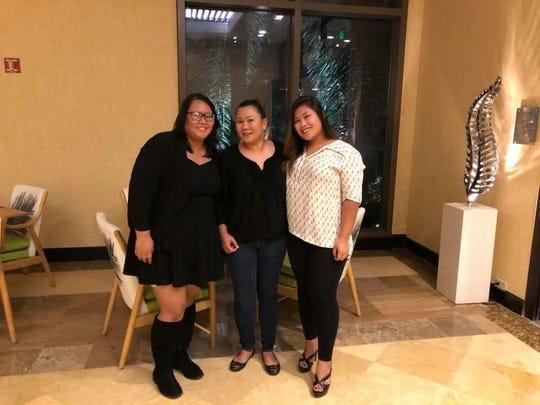 From left: CJ Ochoco, her mother Christel Crisostomo and sister Gabby Crisostomo.