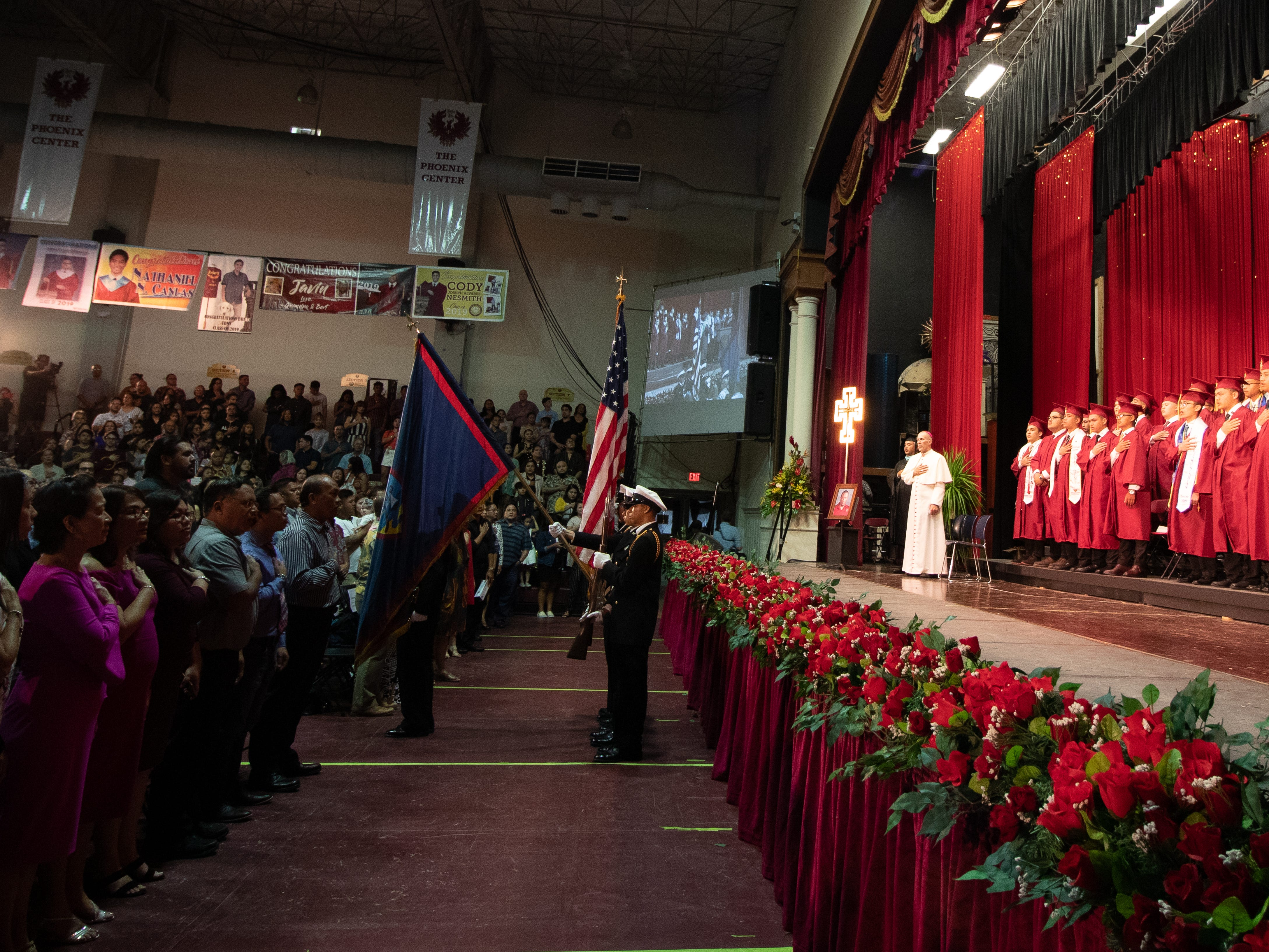 The presentation of colors starts the commencement ceremony for Father Duenas Memorial School's Class of 2019 senior at the Phoenix Center in Mangilao on Wednesday, May 8, 2019.