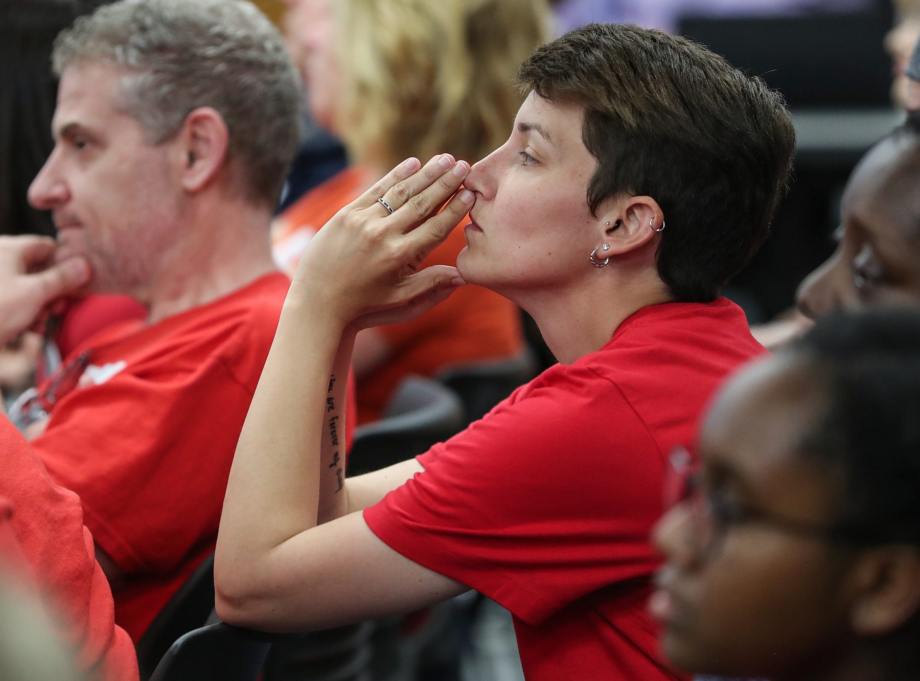 Crystal Osborne attends the Hamilton Southeastern Schools board meeting in support of her child, at Cumberland Road Elementary in Fishers, Ind., Wednesday, May 8, 2019. The board voted 5-2 to adopt an anti-discrimination policy including language specifically prohibiting discrimination and harassment based on gender identity and sexual orientation.