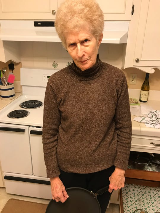 Gregg Doyel says this is his mother's reaction to his teasing her about not owning a microwave.