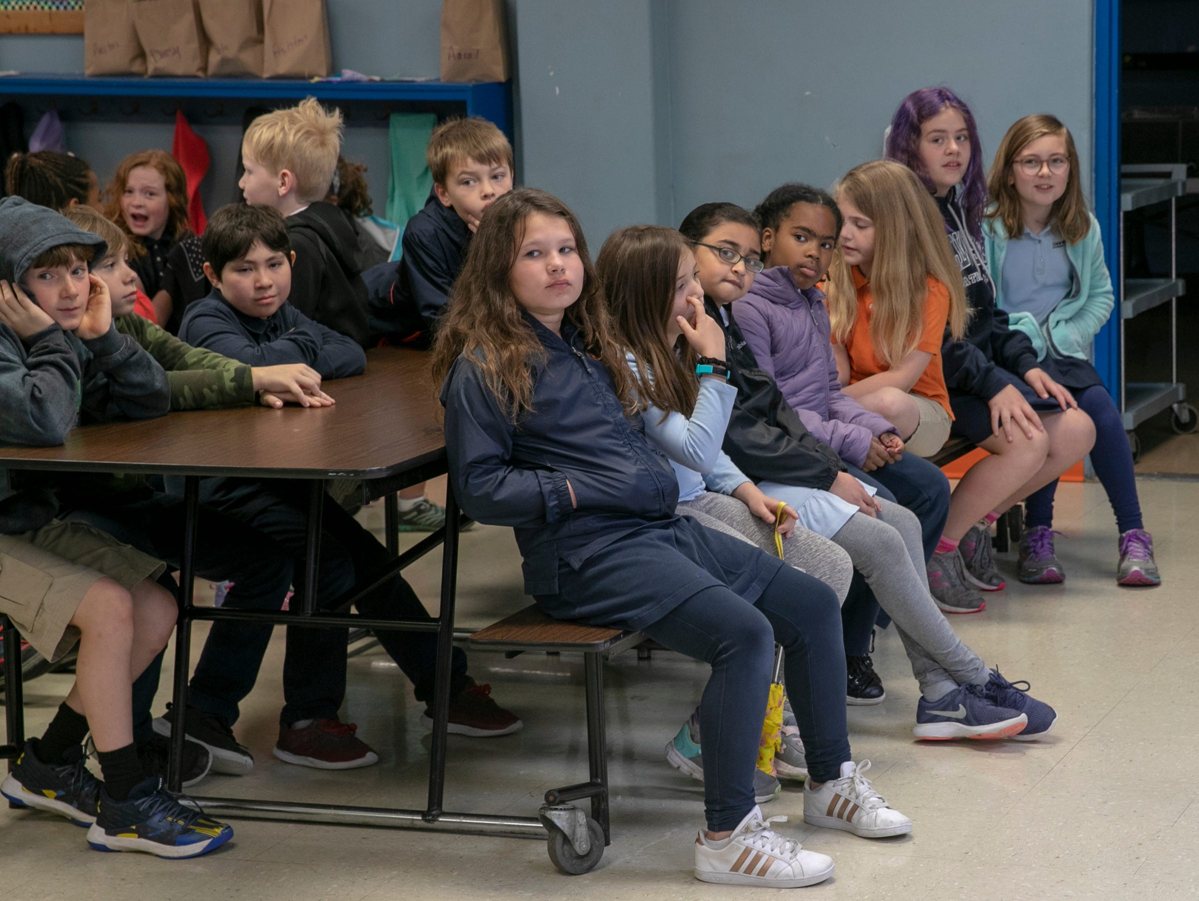 Students get ready for a workshop for fourth graders at International School of Indiana, Indianapolis, Thursday, May 1, 2019. The exercise, developed by the United Nations, is designed to simulate some of the hardships that refugees face when they're trying to leave their homeland.