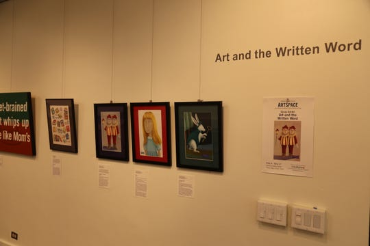 """The Community Arts Partnership ArtSpace inside the Tompkins Center for History and Culture currently shows an exhibit titled """"Art and the Written Word."""""""
