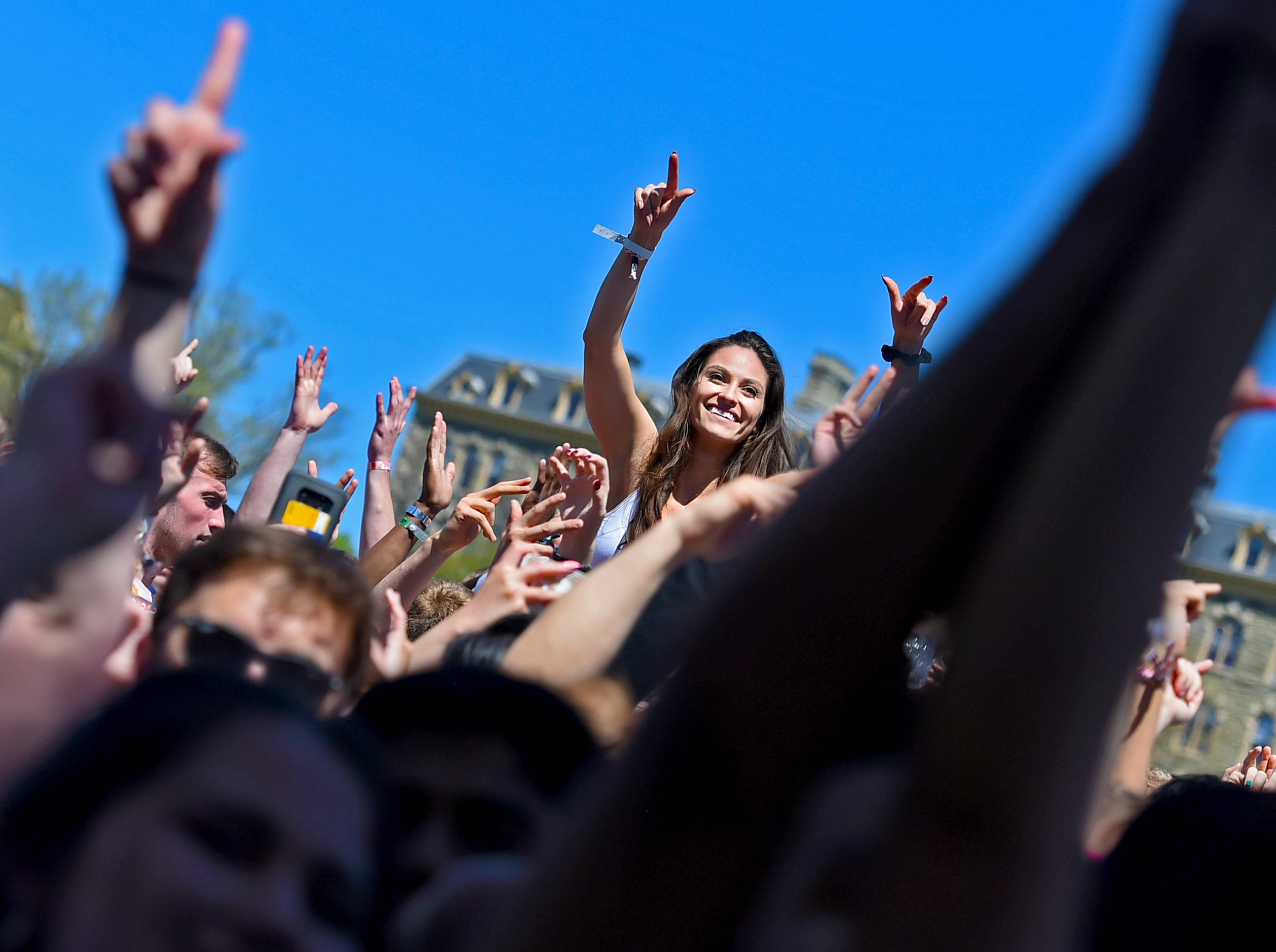 Cornell University students enjoy Slope Day 2019. An annual spring tradition, Slope Day 2019 featured music by Steve Aoki, Cousin Stizz, and EZI. May 8, 2019.