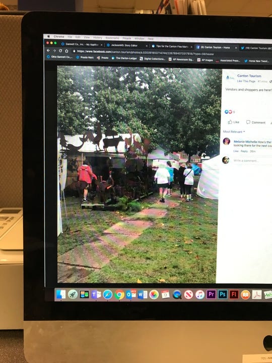This photo of a computer monitor shows the Canton Tourism Facebook page. In the social media post shoppers are arriving for the Canton Flea Market on Thursday, May 9, 2019.
