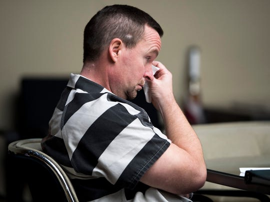 David Lynn Richards wipes his eyes as he listens to his daughter Jasmine Banty on the witness stand during his sentencing hearing in Knox County Criminal Court on Thursday, May 9, 2019.