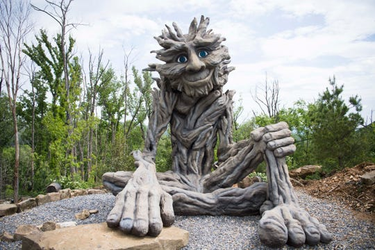 A new sculpture named Willow Man is seen at Anakeesta in downtown Gatlinburg, Thursday May 9, 2019. Anakeesta is expanding it's Vista Garden, adding a BearVenture play area and more.