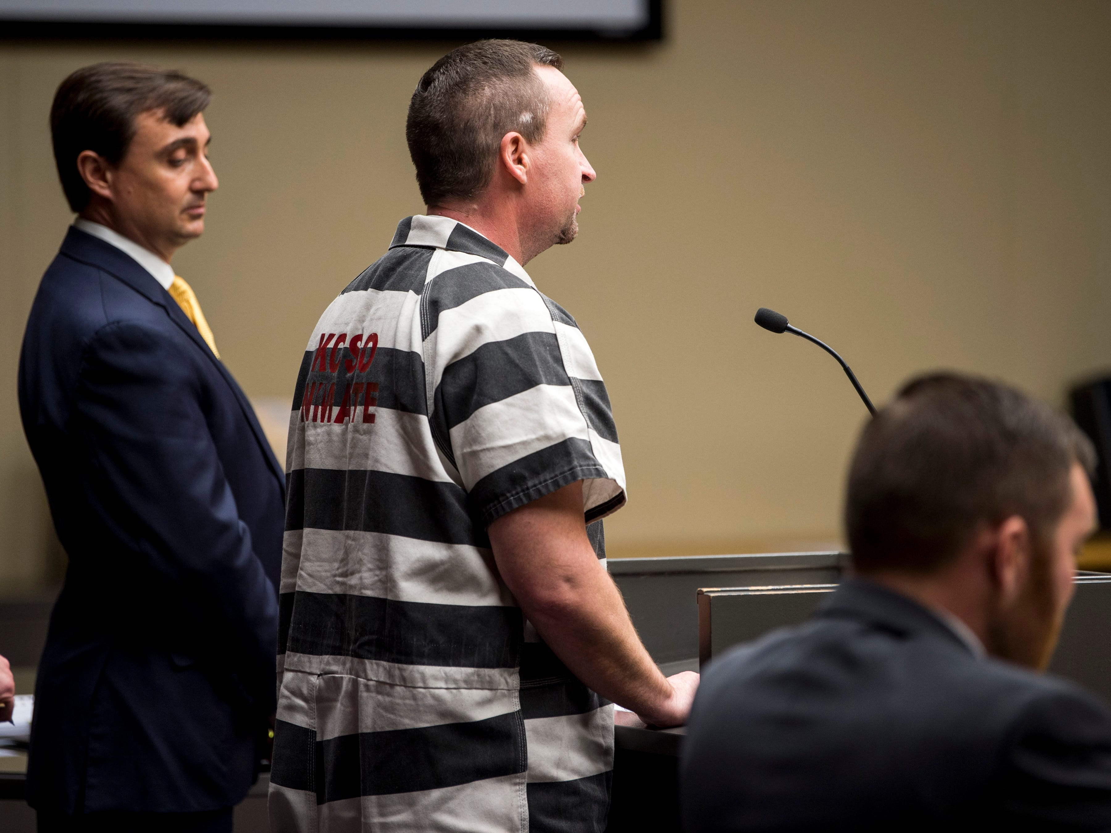 David Lynn Richards, center, speaks during his sentencing hearing in Knox County Criminal Court on Thursday, May 9, 2019.