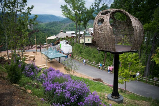 """At right a """"twigloo"""" is seen in Anakeesta's expanded Vista Garden, in downtown Gatlinburg, Thursday May 9, 2019. Anakeesta is also adding a BearVenture play area and other additions."""
