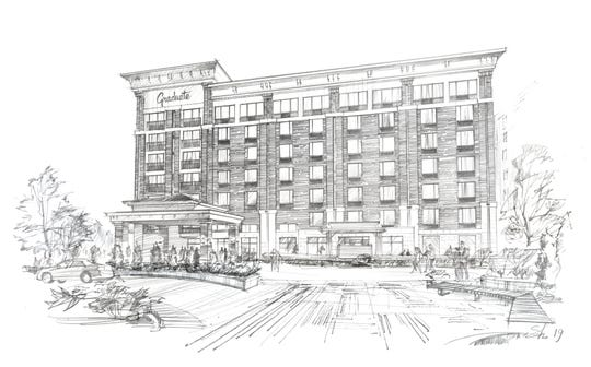 A rendering of the planned Graduate Knoxville hotel, estimated to be completed in Spring 2020.