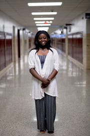 Jackie Ndabahekeye, a refugee from Tanzania and senior at Fulton High School, poses for a photo on Thursday, May 9, 2019. Ndabahekeye who fled Burundi with her family to the US in 2007, will attend Carson-Newman University in the fall.