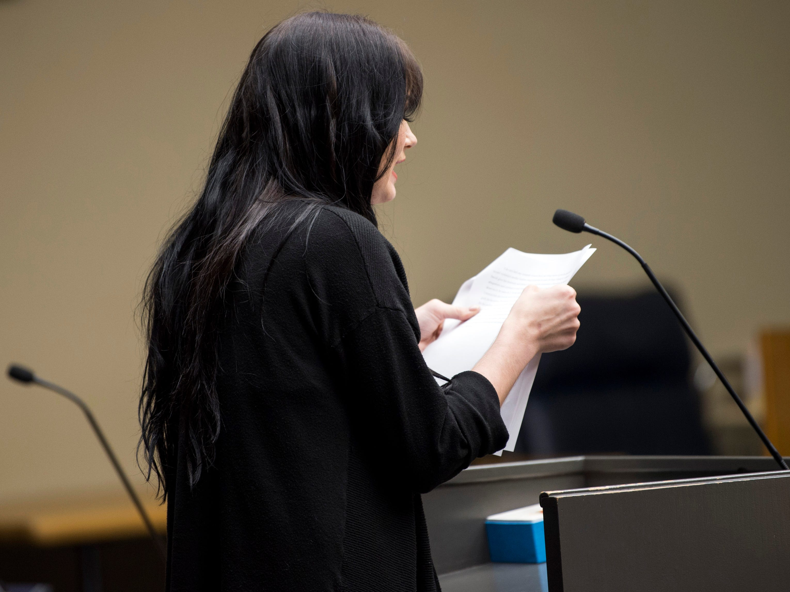 Amber Richards gives her victim impact statement during David Lynn Richards' sentencing hearing in Knox County Criminal Court on Thursday, May 9, 2019.