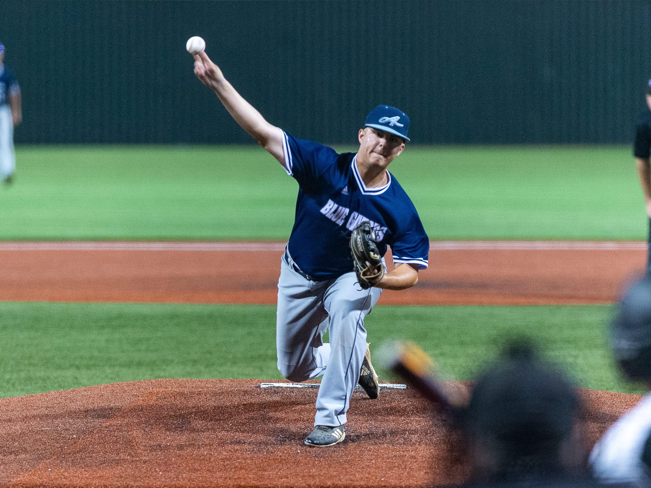 Starting pitcher Sean Michael Brady on the mound as Ascension Episcopal takes on St. Thomas Aquinas in the semi final round at the LHSAA State Championship. Wednesday, May 8, 2019.