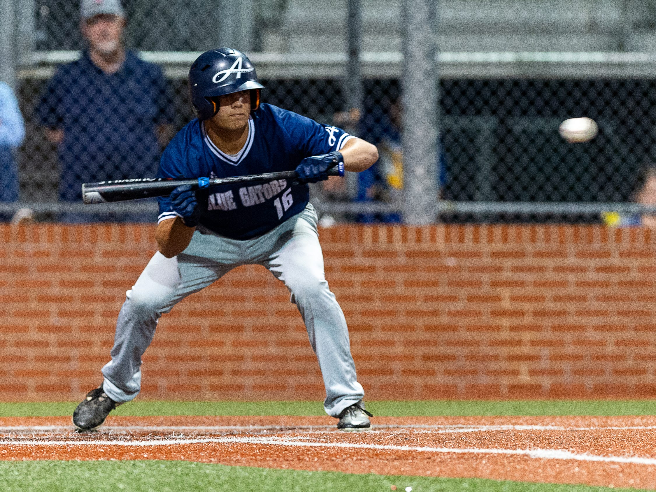 Blake Pearson at the plate as Ascension Episcopal takes on St. Thomas Aquinas in the semi final round at the LHSAA State Championship. Wednesday, May 8, 2019.
