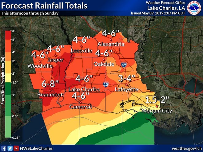 Lafayette could see up to four inches of rain over the weekend.