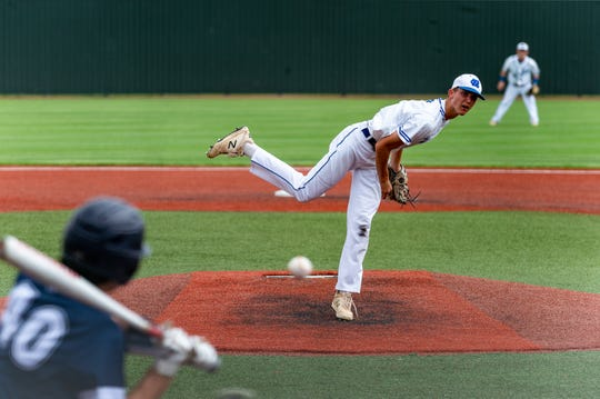Northside Christian's Dustin Hernandez hurls a pitch from the mound as NCS takes on Family Community in the Division V semifinal game of the LHSAA State Baseball Tournament Wednesday, May 8, 2019.
