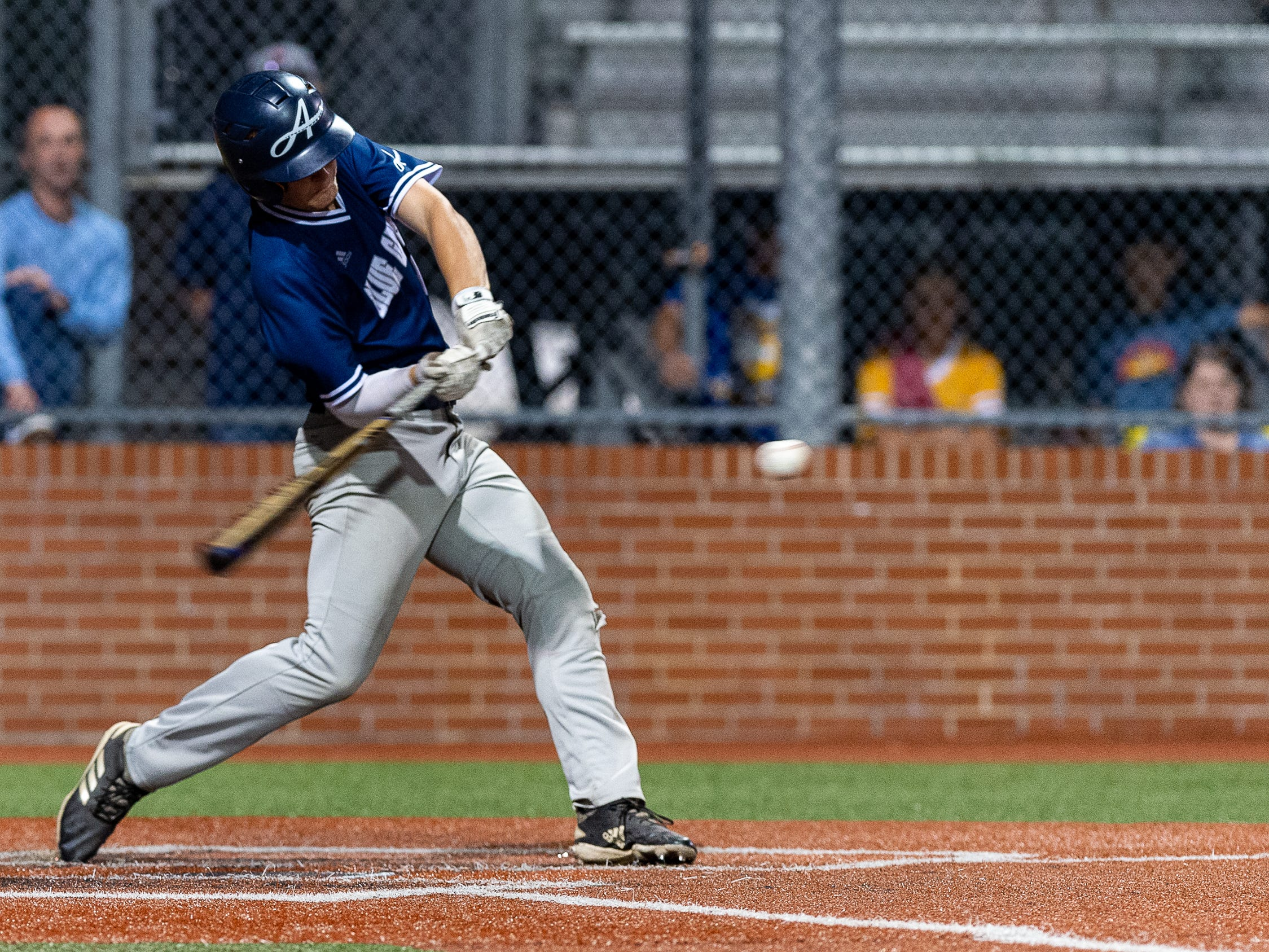 Cole Simon its a double as Ascension Episcopal takes on St. Thomas Aquinas in the semi final round at the LHSAA State Championship. Wednesday, May 8, 2019.