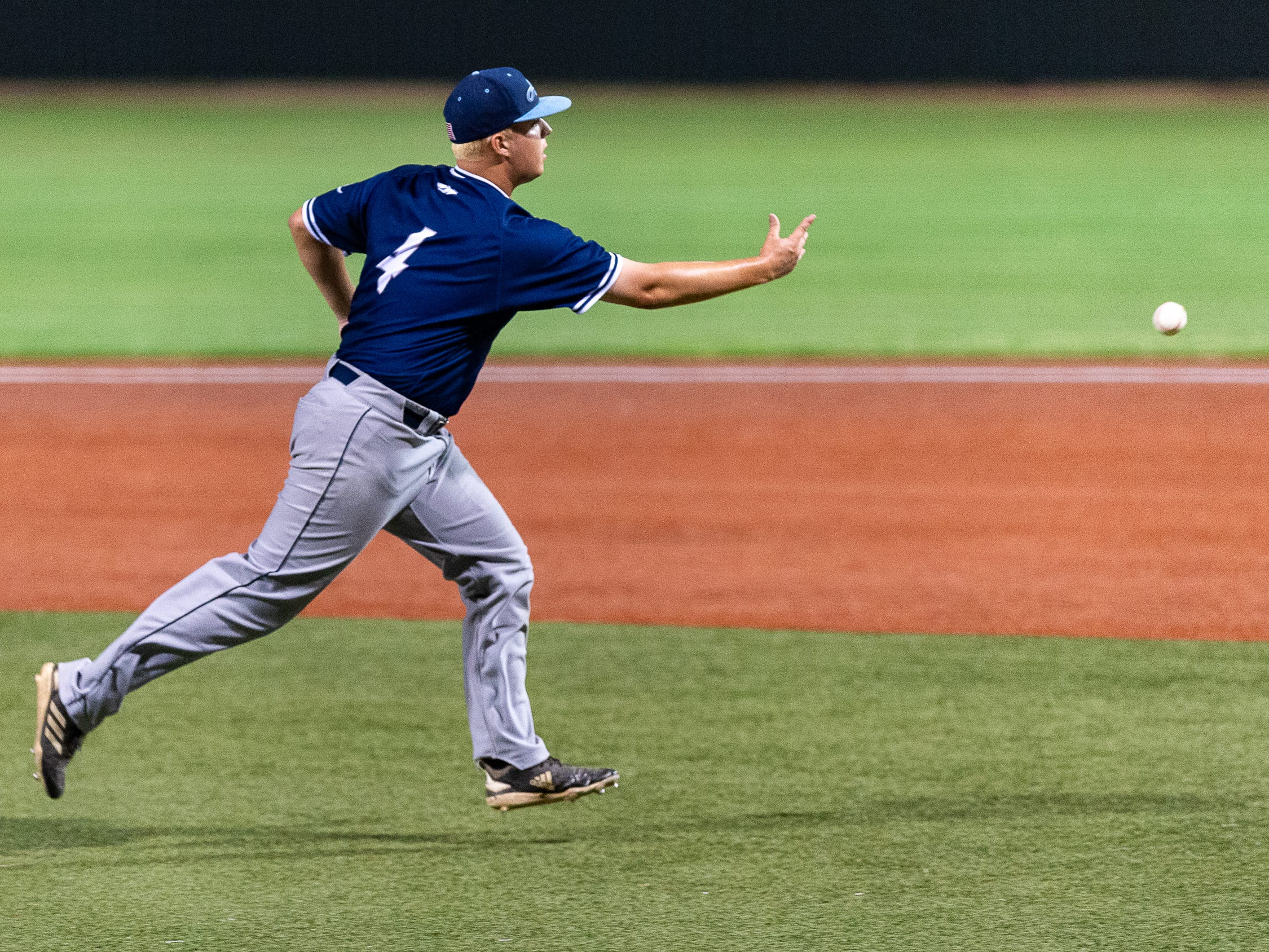 Pitcher Sean Michael Brady gets the out at first as Ascension Episcopal takes on St. Thomas Aquinas in the semi final round at the LHSAA State Championship. Wednesday, May 8, 2019.