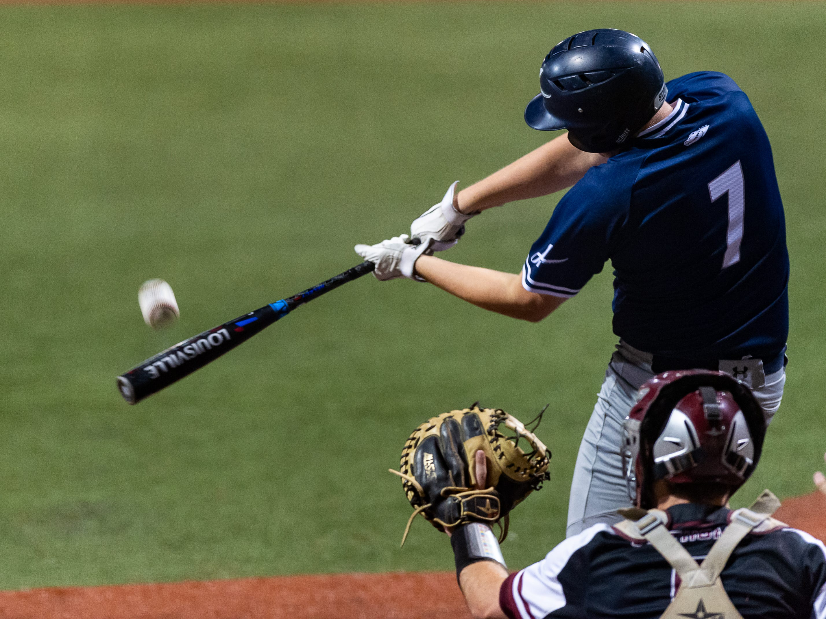 Drake Lee at the plate as Ascension Episcopal takes on St. Thomas Aquinas in the semi final round at the LHSAA State Championship. Wednesday, May 8, 2019.