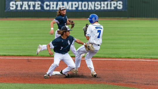 Northside Christian's Dustin Hernandez is safe at second as NCS takes on Family Community in the Division V semifinal game of the LHSAA State Baseball Tournament Wednesday, May 8, 2019.