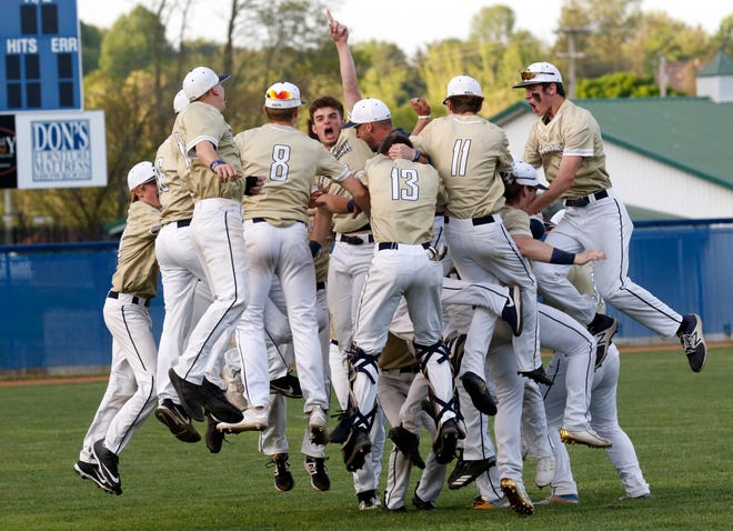 Lancaster's baseball team celebrates after clinching their second consecutive Ohio Capital Conference-Ohio Division championship. The Golden Gales, like many other area spring sports teams are waiting to see if they will get to play this season.