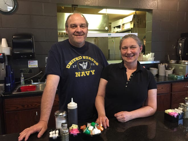 """Tim and BettyGerecke, co-owners of Brighton eatery Lynn's on First, shown Thursday, May 9, 2019, enjoyed having scenes for Lifetime channel's """"A Christmas Winter Song"""" filmed at their business."""