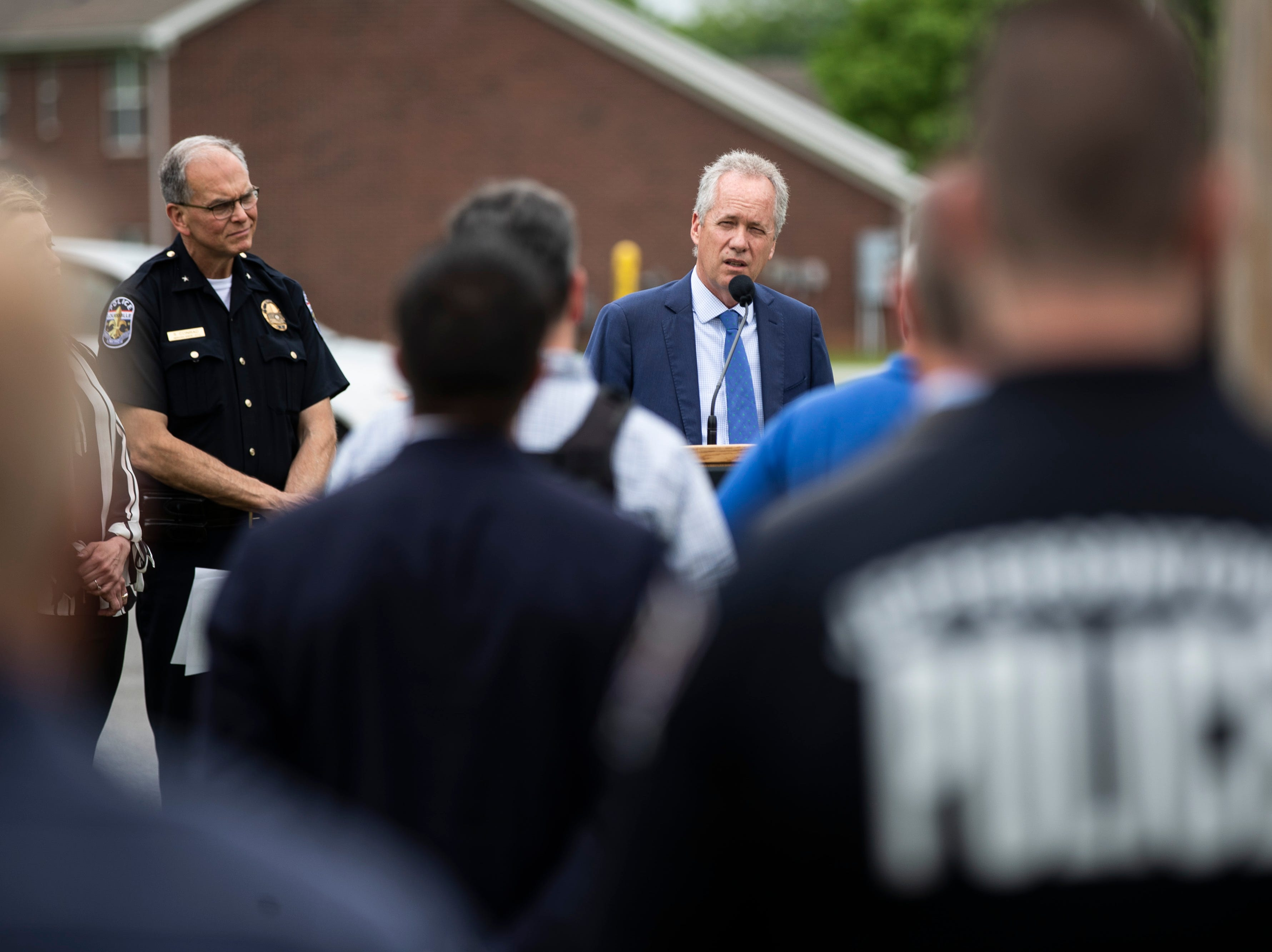 Mayor Greg Fischer speaks to the renaming of the corner of Stony Brook Drive and Six Mile Lane in Jeffersontown to Peter Grignon Way, in honor of the fallen officer shot during a hit and run stop in 2005. May 9, 2019