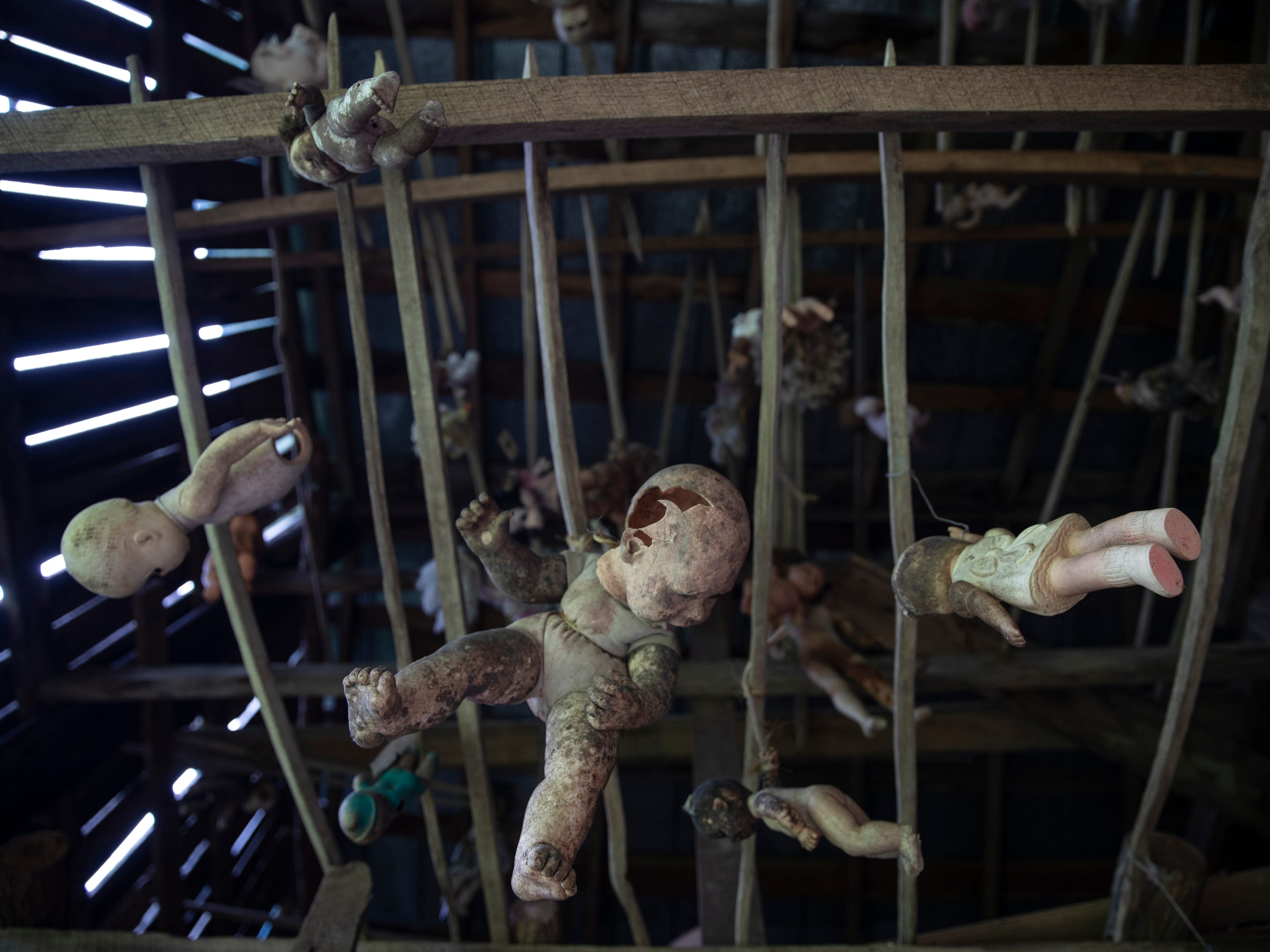 Baby dolls hang from the rafters of a tobacco barn at the Home for Wayward Babydolls. April 19, 2019