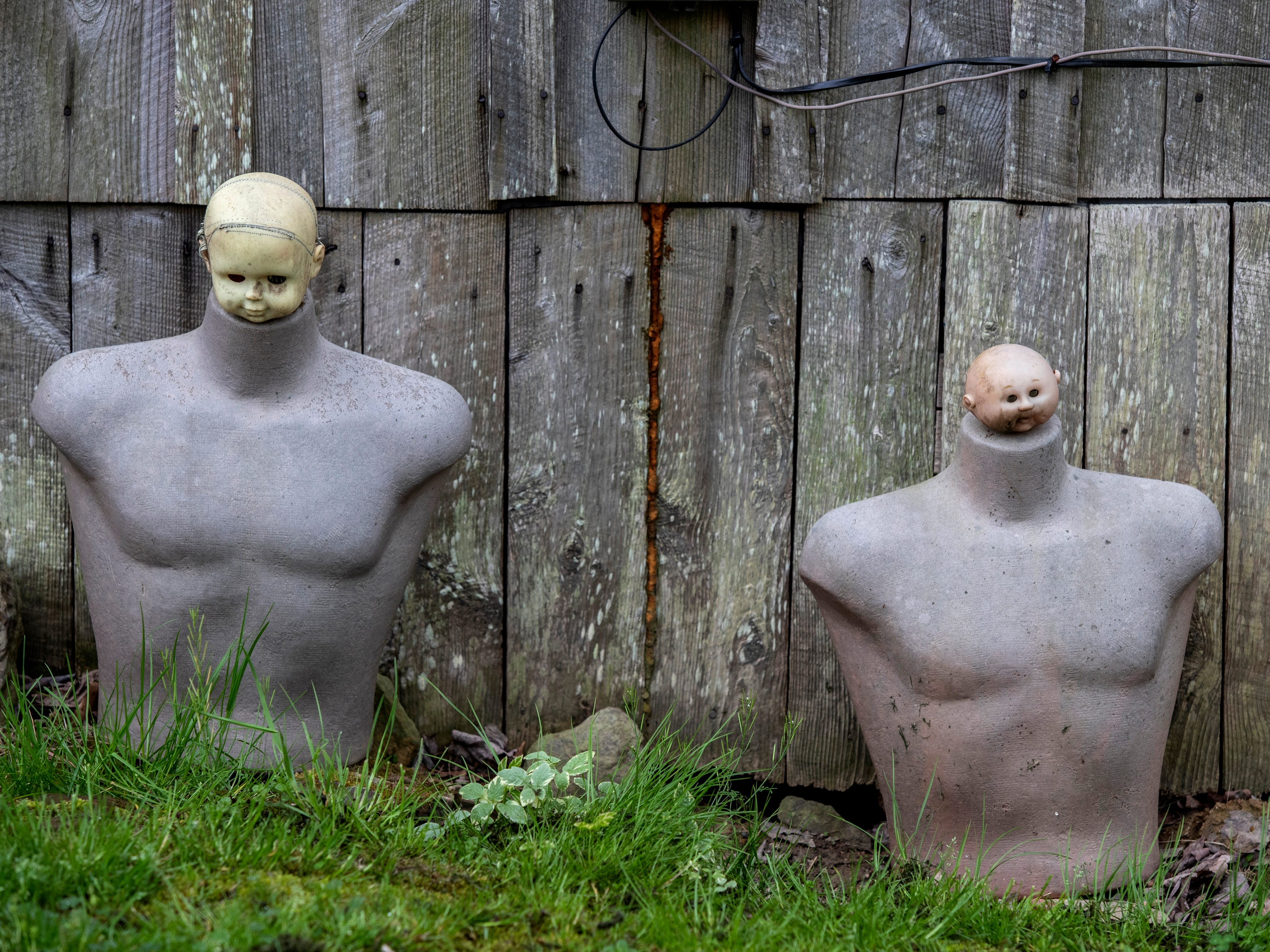 The heads of baby dolls rest atop male mannequin torsos at the Home for Wayward Babydolls. April 19, 2019