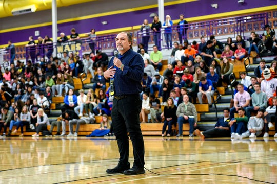Bullying prevention advocate Kevin Epling speaks about the issue of bullying during an anti-bullying event on Friday, May 3, 2019, at Avondale High School in Auburn Hills. Kevin's son, Matt, was bullied and took his own life in 2002 at the age of 14.