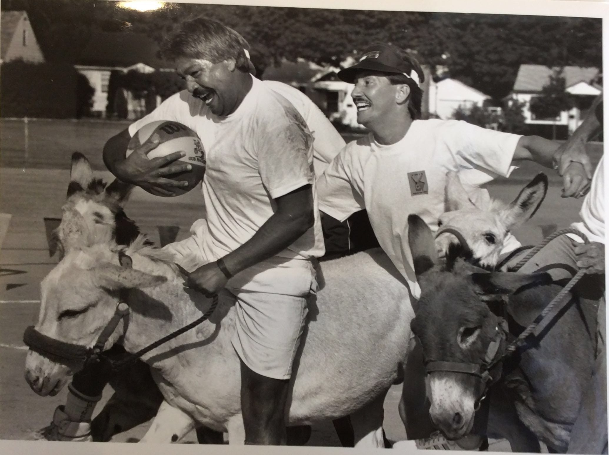 A Gus Macker donkey basketball game took place in 1989 at Westside Park. It pitted Lansing Fire Department members against a team of local media.