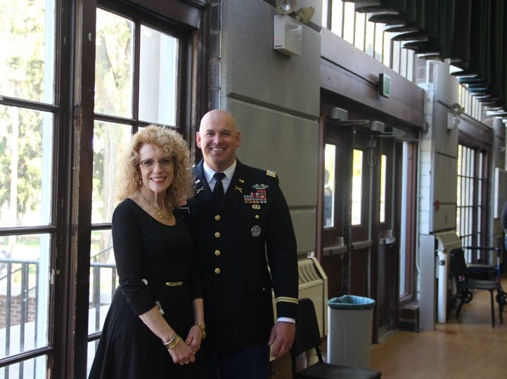Mrs. Rosanne Krueger and Capt. Christopher Emmons just before the Spring Semester 2019 MSU ROTC Commissioning Ceremony.  Capt. Emmons is the primary instructor for juniors in the Military Science Department.
