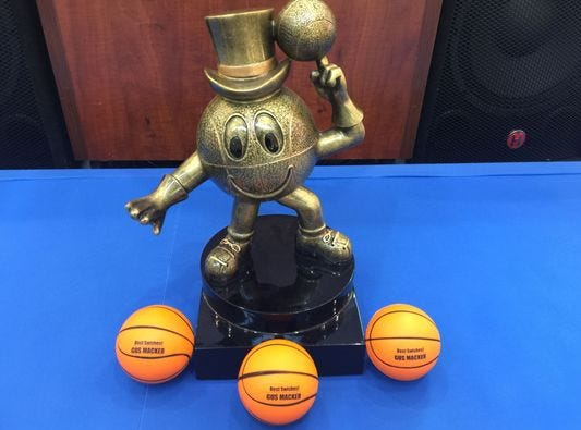 This is a look at one of the Gus Macker basketball tournament trophies that's given to winning teams.