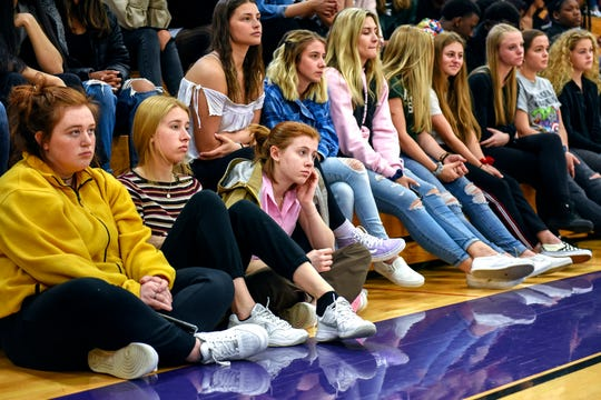 Students listen as bullying prevention advocate Kevin Epling speaks during an anti-bullying event on Friday, May 3, 2019, at Avondale High School in Auburn Hills. Kevin's son, Matt, was bullied and took his own life in 2002 at the age of 14.
